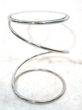 Small Chrome Spring Glass Top Side Table. Moderni