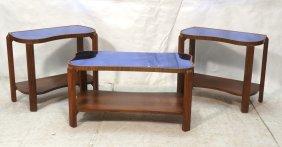 3pc Art Deco Blue Cobalt Mirror Top Tables. Kidne