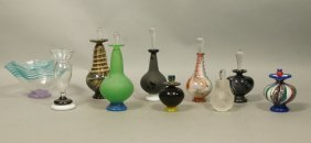 10pc Art Glass Perfume Bottles. Perfumers. Includ