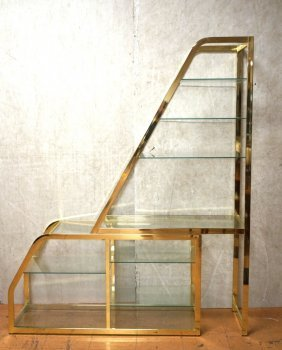 Brass Etagere Display Unit. Dia. Stepped Peaked Form.