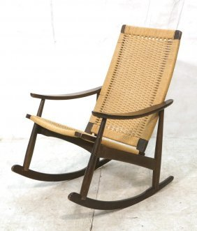 Wegner Inspired Rocking Chair With Woven Back And