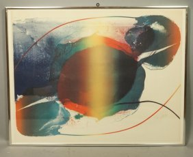 Paul Jenkins Signed Colorful Print. Modernist Col
