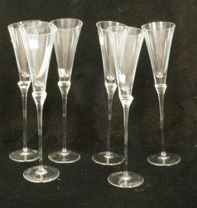Lot 6 Rosenthal Crystal Stemware Glasses. Champag