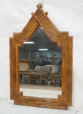 Decorator Faux Bamboo Wall Mirror. Peaked Frame