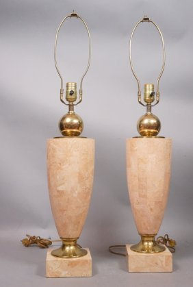 Pr Maitland Smith Tessarae Tile Table Lamps. Pink