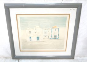 Mary Faulconer Print. Houses Under Blue Sky. Sign