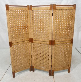 Three Panel Folding Screen Room Divider. Woven Ru