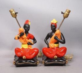 Pr Painted Chalkware Blackamoor Table Lamps. Vint