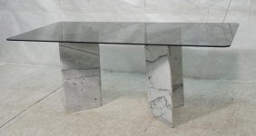 "Smoked Glass Dining Table. Double ""v"" Marble Pede"