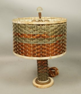 Woven Mixed Metal Table Lamp.