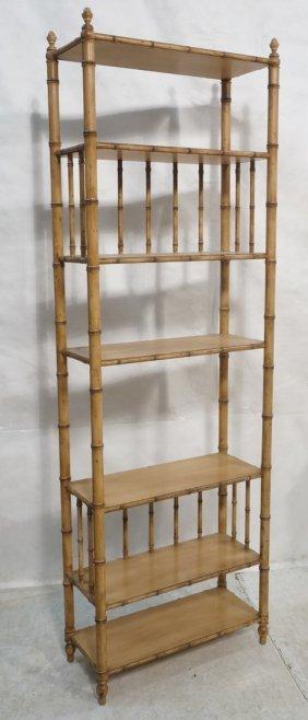 Faux Bamboo Etagere. Wood Shelves.