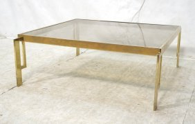 Brass & Smoked Glass Square Coffee Table.