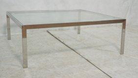 Heavy Modernist Coffee Table. Flat Chrome Frame C