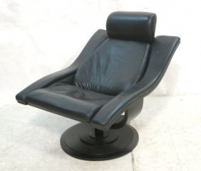Dark Leather Move Swivel Lounge Chair. Okamura &