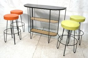 Frederick Weinberg Bar And 4 Bar Stools. Curved