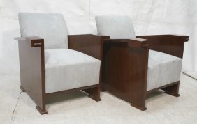Pr Art Deco Style Modernist Lounge Chairs. Dark W