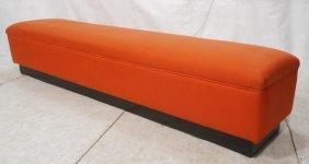 Long Horizontal Red Fabric Bench. Black Base.