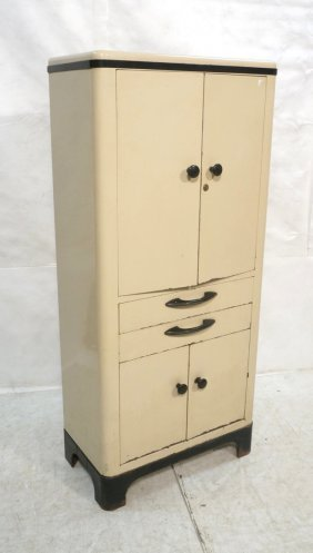 Beige Enameled Metal Medical Cabinet. Industrial.