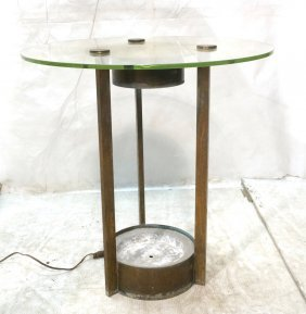 Dorothy Thorpe Brass Cylinder Table. Glass Top