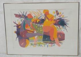 Large Gregorio Prestopino Lithograph Print. Arti