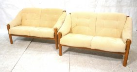 Pair Danish Modern Teak Loveseat Sofas. Heavy Te