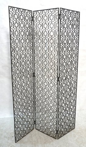 3 Panel Iron Folding Screen. Scroll Design.