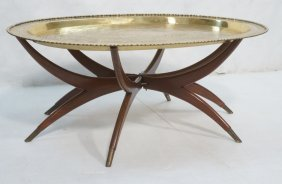Large Brass Tray Modernist Coffee Table. Brass Ca