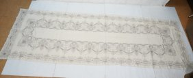Embroidered Linen Table Cloth. D. Porthoulb. Long