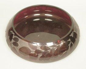 Etched Amethyst Art Glass Ken Benson Ls. Bowl. Et