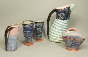 6pc Butter & Toast American Studio Art Pottery. T