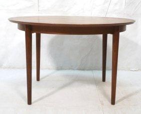 Danish Teak Round Banded Dining Table. Modernist