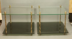 Pr Brass Faux Bamboo Side Tables. Glass Top Over