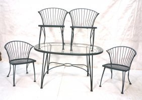 Outdoor Iron Dining Table & 4 Chairs. Green Paint
