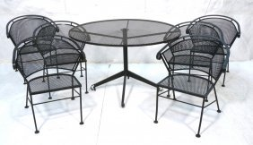 Outdoor Iron Round Patio Table 6 Chairs. Diamond