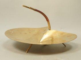 Carl Aubuck Brass Dish. Rattan Wrapped Handle. Li