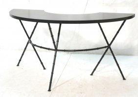 Faux Bamboo Iron Base Semi Circle Table. Faux Bla