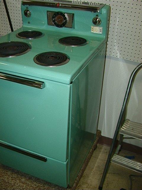 829 General Electric Turquoise Enamel Stove Vintage C