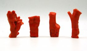 Set Of Four Carved Coral Figurines