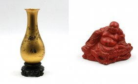 Lacquered Laughing Buddha, Gold Lacquer Vase