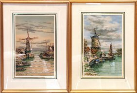 Watercolor: Windmills ; Watercolor: Canal At Volandam