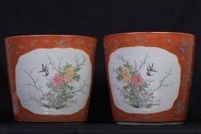 Pair Of Coral Porcelain Planters