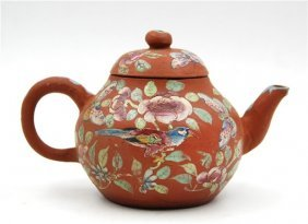 Painted Clay Teapot