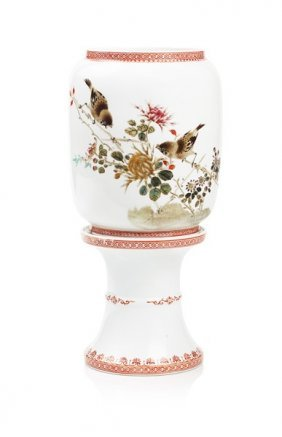 Painted Bird And Flower Candelabra Set