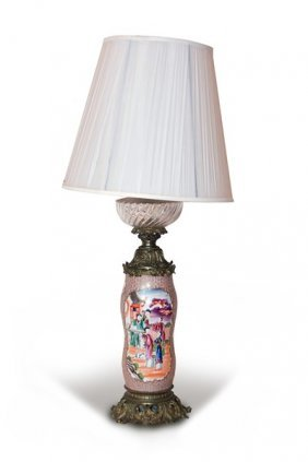Glass Oil And Porcelain Lamp
