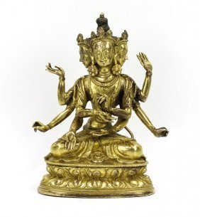 Gilt Bronze Four Headed Manjusri Buddha Statue