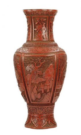 Carved Cinnabar Lacquer Vase
