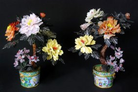 Pair Of Cloisonne Enamel Pots With Agate Flowers