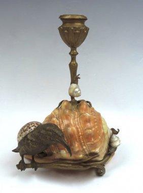 Rare Bronze Bird & Shell Candlestick
