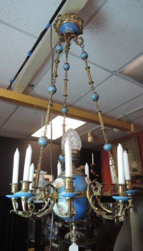 Sevres Style Porcelain & Gilt Bronze Chandelier