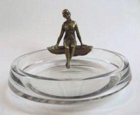 Austrian Art Nouveau Crystal & Bronze Bowl